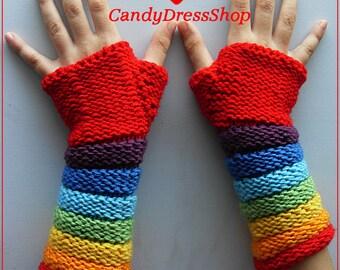 Rainbow  mittens, Rainbow wrist warmers, Kids Colorful mittens, Rainbow knit gloves, Handknit Rainbow wrist warmers, Gifts under 25 dollars,
