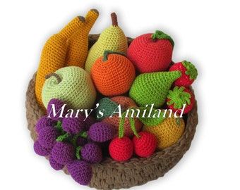 Basket of Fruit eBook - Amigurumi Crochet Pattern - Digital Download