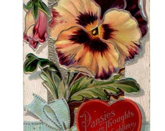 Antique 1900's Valentine Post Card w/Pansies