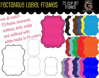 Label Clip Art Frame Digital Clipart Frame Clip Art Printable Dot Frame Rectangle Digital Frame Scrapbook Clip Art - Instant Download