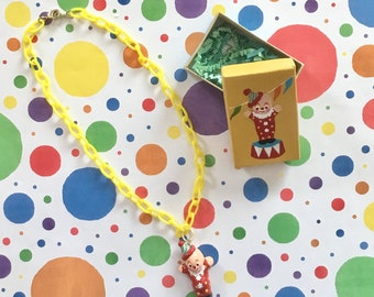 Child's Clown Necklace/Clown Jewelry/Circus Clown Necklace