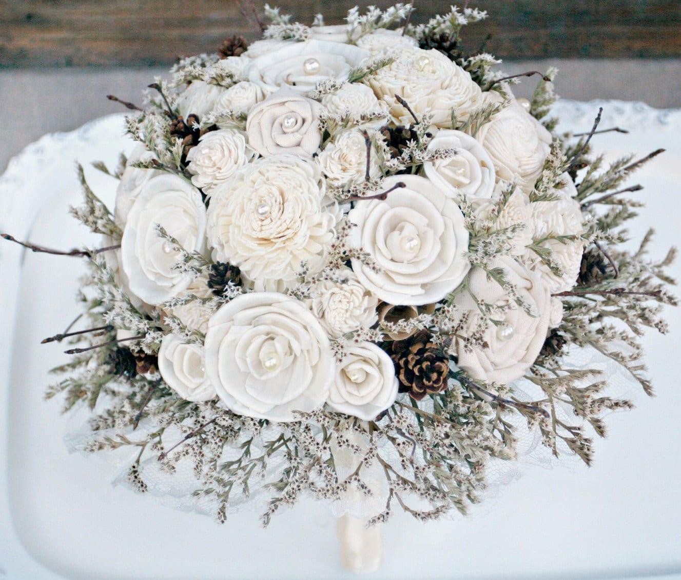 Winter wedding bouquet rustic sola flower bouquet cream zoom izmirmasajfo Choice Image