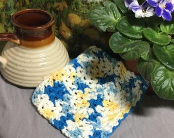 Crochet multicolor cotton dish cloth