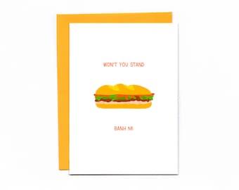 Valentine's Day - funny card - bread puns - sandwiches - love -banh mi