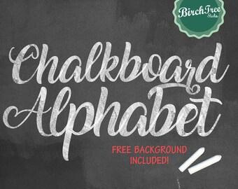 Chalkboard Clipart Alphabet - Chalkboard Letters - Chalk Alphabet - Chalkboard Font - Hand Drawn Chalk Letters - Instant Download