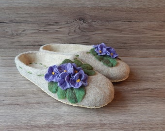Felted slippers with flowers Women home shoes Eco friendly blue flower wool   Embroidered slippers women shoes Women's Day Felt shoes