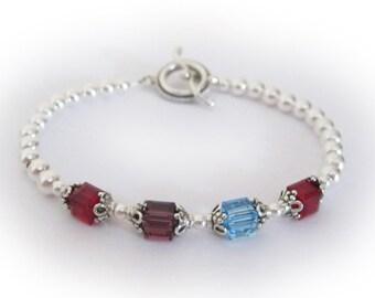 4 birthstones - Swarovski Birthstone Bracelet - You CHOOSE Colors & Size - 4 Birthmonths