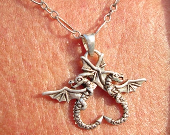 Sterling Silver Dragons Necklace