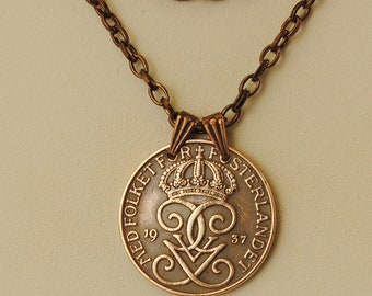 Sweden Coin Necklace 1937 Crowned Monogram