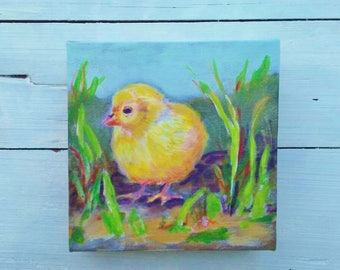 Baby chick painting, Chicken art, baby chick art, chicken mini painting, Easter gift, chicken lover, chicken collector, 6x6 inches