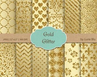 "Gold Glitter Digital Paper: ""Gold Glitter Patterns"" glitter digital paper, metallic gold backgrounds, gold scrapbook paper, instant download"