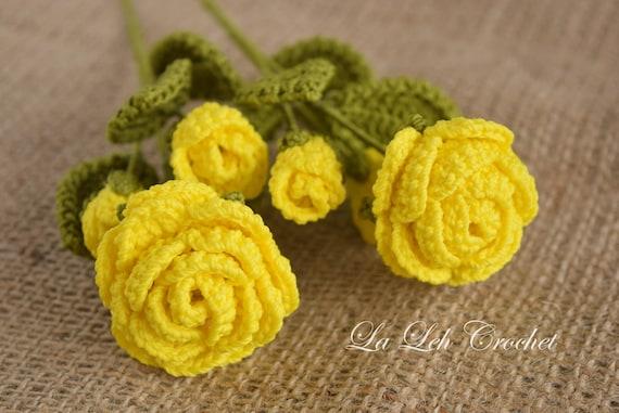 Pattern Only Crochet Flower Pattern Scarlet Rose Wedding Bouquets