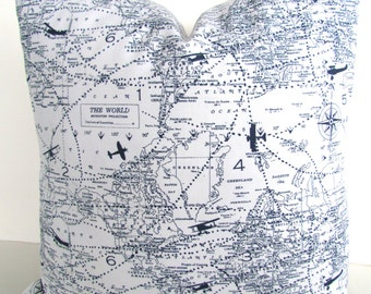 Blue PILLOW Covers Blue Throw Pillows Navy BLUE WHITE Pillow Covers World Maps Air Traffic Blue Pillows Planes Atlas 16 18x18 All Sizes