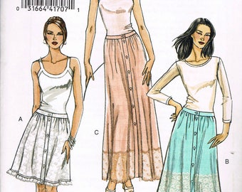 Size 6-12 Misses' Skirt Sewing Pattern - Front Button Skirt Pattern - Long Skirt Pattern - Gathered Skirt - Vogue V8394
