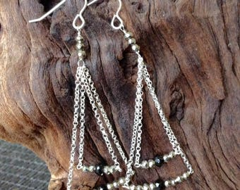 Pyrite and Onyx Triangle Chain Earrings