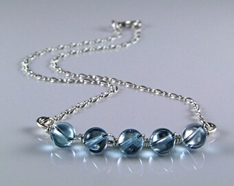 Stunning Blue Topaz Sterling Silver Necklace - N394