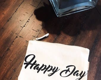 Happy Day Canvas Bag | Zipper Makeup Bag | Bridesmaid Gift | Best Day Ever