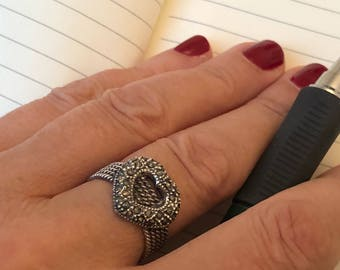 Vintage sterling silver heart ring with marcasite