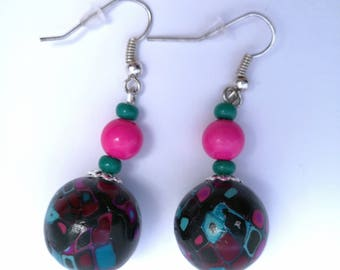 Black and Fuchsia turquoise earrings