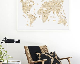 Travel map etsy large world map wall art typography poster gold world map print world map poster office printable decor gold map of the world travel map gumiabroncs Images