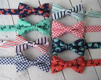 Boys Nautical Bow Tie~Boys PreTied Bow Tie~Boys Anchor Bow Tie~Wedding Tie~HoBo Ties~Cotton Bow Tie~Coral Bow Tie~Sprout Bow Tie~Whales