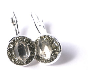 Herkimer Diamond Earrings | Diamond Earrings | Diamond Dangly Earrings | Pyrite Earrings | April Earrings | Birthstone Earrings |