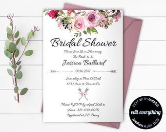 Boho Bridal Shower Invitation - Floral Bridal Shower Invite - Printable Invite Wedding Shower - Floral shower invite - Floral Invitation