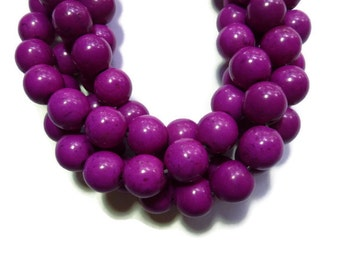 Red Violet Howlite - 12mm Round Bead - Full Strand - 34 beads - Purple Magenta Lilac - Synthetic Turquoise - Grape