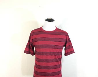 90's striped pocket 50/50 blend t-shirt made in usa size L