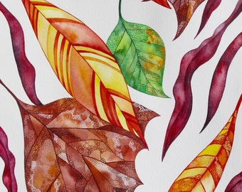 Autumn  Illustration/ Fall Watercolor ORIGINAL Painting/ Fall Decor/ Autumn Leaves Painting/ Autumn Watercolor/ OlenaBacasArt/