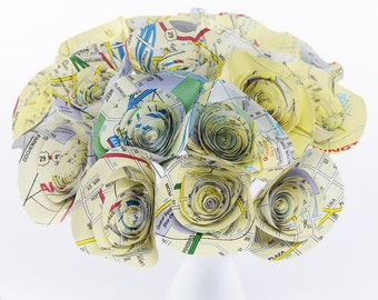 Travel Theme- 18 Map Paper Flowers, Charlotte NC Gift, Atlas Map Centerpiece, Geography Teacher Gift, Travel Theme Wedding Flowers, Atlas