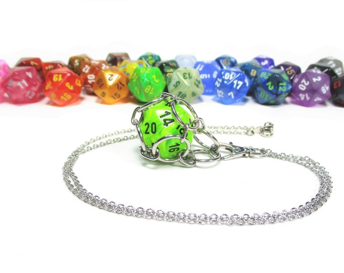 Removable Premium d20 Necklace - Choice of Colors - Stainless Steel Chainmaille