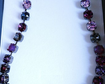"""Swarovski crystal necklace dark shades of purple 8.5 mm 33 chatons 20"""" with extender chain"""