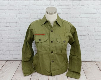 Vintage Khaki Olive Drab Official Boy Scout Uniform Shirt 13 Regular