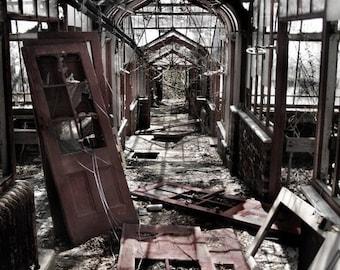 Abandoned Greenhouse - Original Photograph - Muted Tones Titanium Grey Gray Ruins Unique Home Decor Wall Art