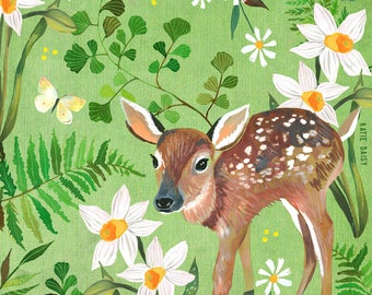 Fawn Art Print | Nature Wall Art | Katie Daisy | 8x10 | 11x14