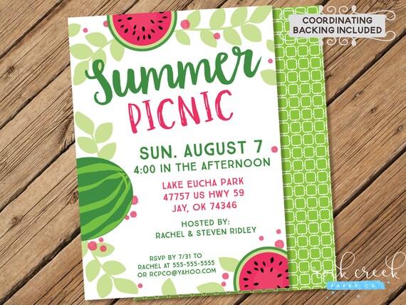Sommer-Picknick Einladung Park Picknick Einladung Picknick