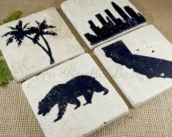 CALIFORNIA STATE COASTERS (4), All Different Custom Location, Drink Coasters, Palm Tree Coasters, Los Angeles Skyline, Personalized Coasters