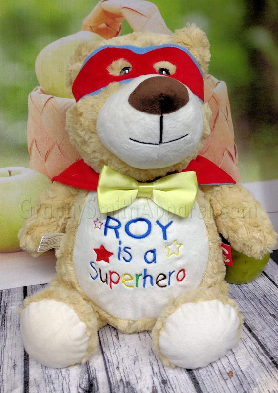 "SUPERHERO Hero bear 12"" personalized plush embroidered bear gift. Child cancer fighter. childhood illness.  survivor"
