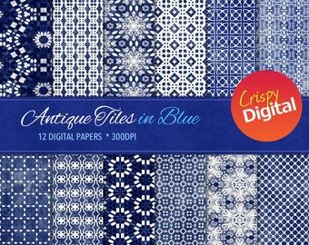 Indigo Digital Papers Antique Tiles Printable 12pcs 300dpi Digital Download Blue Collage Sheets