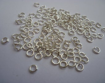 200 Open Jump Rings 4mm Silver Plated 4 x 0.75mm  - FD10