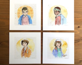 Stranger Things, Watercolor Prints, Set of 4, 5x5 by Kendra Minadeo Limited Edition