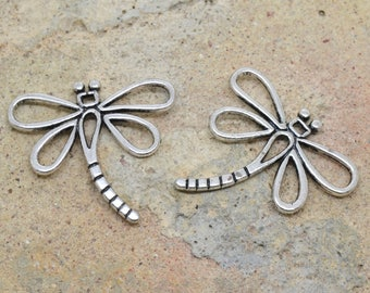 2 charms Dragonfly insect 30mm / 30mm silver-plated