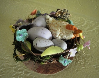 Handmade Nest with Chicken and Eggs