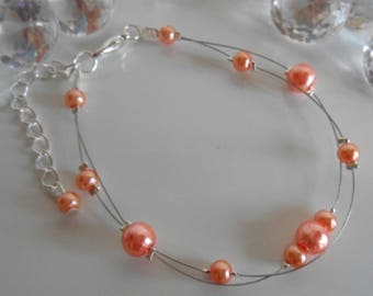 Bracelet wedding 2 row coral pearls
