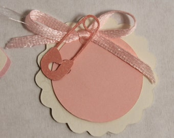 25 tags labels for wedding favors three-layer cardboard + paper + custom print brooch favor label