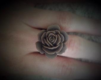 Large Brown Flower/Rose Adjustable Ring