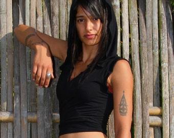 Onyx Ninja Jacket Wrap/Womens Black Hoodie/Womens Clothing/Yoga Gym Clothes/Festival Hoodie/Womens Black Hoodie/Boho Clothing/Yoga/Yoga/Yoga