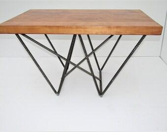 Rebar Coffee Table, Rustric Coffee Table, Glass Coffee Table, Reclaimed  Wood Coffee Table, End Table, Office Furniture, Industrial Furniture