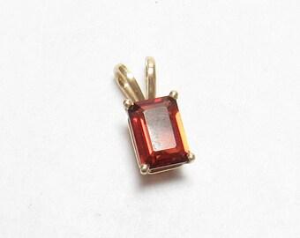 Little 14K Yellow Gold 1.25 Ct Natural Emerald Cut Red Garnet Pendant